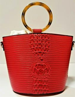Luxurious Alyssa Faux Ostrich Skin Red Satchel Bag + Crossbo