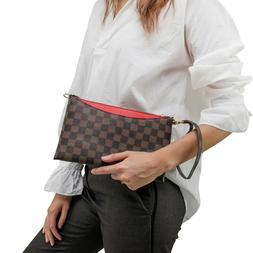 Luxury Checkered Crossbody Bag for Women Wristlet Clutch Lea
