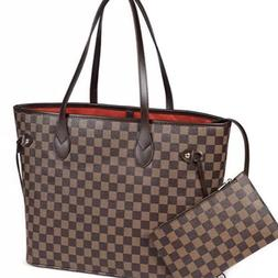 luxury checkered tote bag leather shoulder strap