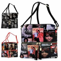 Magazine Cover Collage Tassel Zipper Crossbody Bag Michelle
