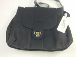 Daisy Rose Medium Cross Body Shoulder Bag Vegan Leather Blac
