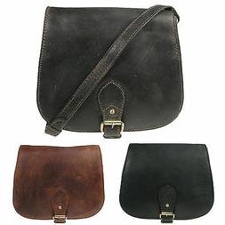 Medium Size Distressed Real Hunter Womens Leather Messenger