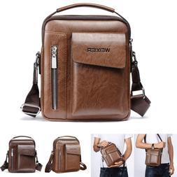 Mens Leather Crossbody Messenger Shoulder Bag Travel College