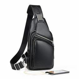 Mens Shoulder Bag Burglarproof Black Leather Chest Bag USB C