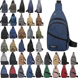 Mens Unisex Shoulder Bag Sling Chest Pack USB Charging Sport