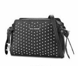 michael bristol studded leather messenger xbody bag