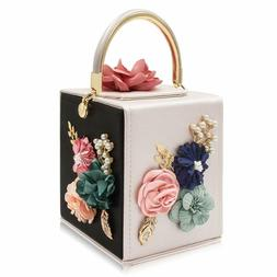 Milisente Evening Clutch Bag For Women Floral Square Box Eve