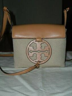 """TORY BURCH """"MILLER"""" CANVAS AND LEATHER CROSSBODY BAG IN NATU"""