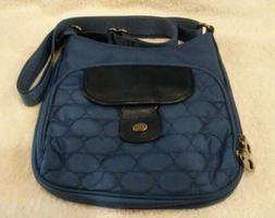 Mosey by Baggallini Navy Blue Nylon Leather Crossbody Bag Pu