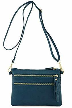 FashionPuzzle Multi Zipper Pocket Small Wristlet Purse Cross