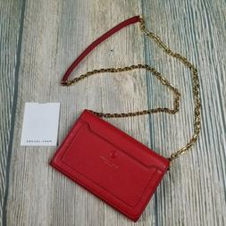 New MARC JACOBS apple red Empire city leather wallet crossbo