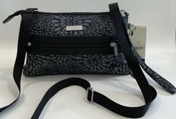 Baggallini NEW!!! CROSSBODY FLORAL GREY Zip BAGG Gray Everyd