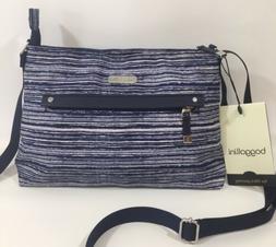Baggallini NEW!!! CROSSBODY Zip BAGG BLUE WHITE STRIPE Every