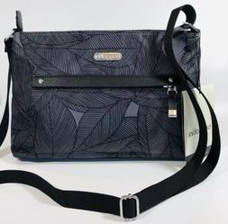 Baggallini NEW!!! CROSSBODY Zip Strip BAGG GREY BLACK LEAVES