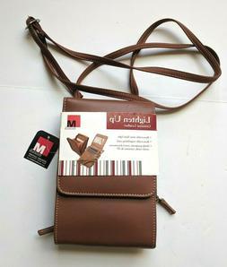 New! Mundi Leather Lighten Up Brown Mini Travel Bag Crossbod