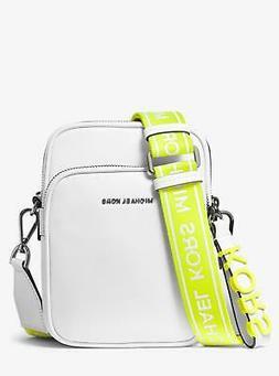 NEW Michael Kors Medium Leather Tape Crossbody Bag, White Ye