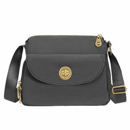 NEW Baggallini Provence Crossbody Purse Gold Hardware, Charc