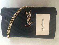 New Saint Laurent Chain Wallet Medium Monogram Black Leather