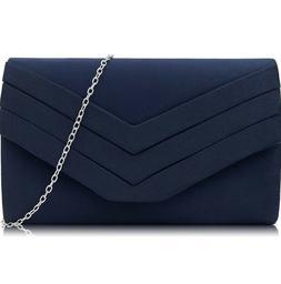 New Suede Navy Envelope Crossbody Shoulder Clutch bag