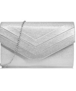 New Suede Silver Envelope Crossbody Shoulder Clutch bag