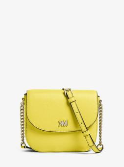 New Michael Kors Sunshine Yellow Mott Dome Leather Crossbody