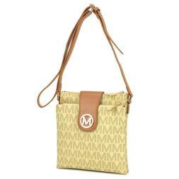 New Womens Handbag Monogram Logo Faux Leather Messenger Bags