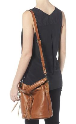 NWT $250 Patricia Nash 'Otavia' Tan Leather Shoulder Bucket