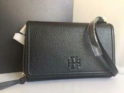 NWT $295 Tory Burch Thea Flat Black Pebbled Leather Wallet C