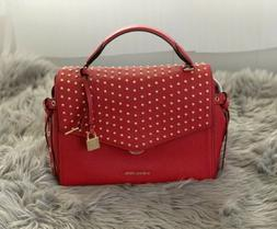 nwt bristol red studded leather th satchel