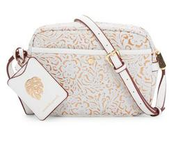NWT Tommy Bahama Nassau Leather Camera Bag, White/Gold Color
