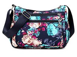 Nawoshow Nylon Floral Multi-Pocket Crossbody Purse Bags for