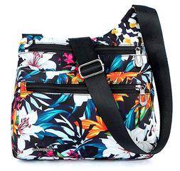 Nylon Multi-Pocket Crossbody Purse Bags for Women Travel Sho
