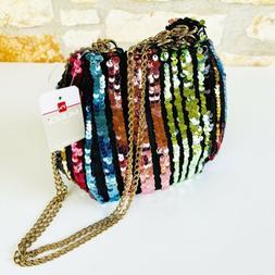 Mundi Rainbow Sequin Bucket Bag Chain Strap Convertible Cros