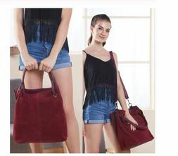 Real Split Suede Leather Tote Bag for Women Casual Crossbody