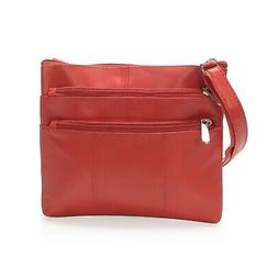 Red Leather Fashion Crossbody Bag for Women with Man-Made St