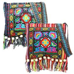 Retro Embroidery Boho Tote Messenger Ethnic Tassel Shoulder