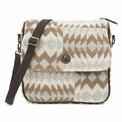 ROMY Journey Crossbody Messenger Bag Multicolor Brown Leathe