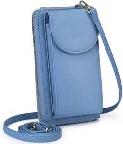 S-ZONE PU Leather RFID Blocking Crossbody Phone Bag for Wome