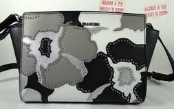 selma black pearl grey floral medium messenger
