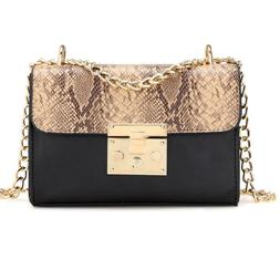 Serpentine Leather Crossbody Bags Woman Luxury Chain Tote Su