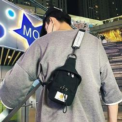 Small Canvas Chest Pack for Men Women Crossbody Bags Hip Hop