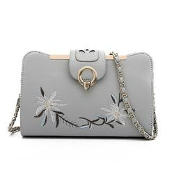 Small Crossbody For women Bag Embroidery {grey}