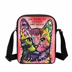 SPEND 9 LIVES WITH U Print Crossbody Bag Cat Small Messenger