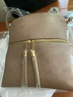 Tassel Zip Pocket Crossbody Bag in Taupe- lightweight