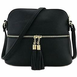 Tassel Zipper Pocket Dome Crossbody Bag  Fashionpuzzle