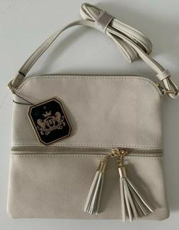 Deluxity Tasseled Flat Mini Crossbody Bag Ivory Beige