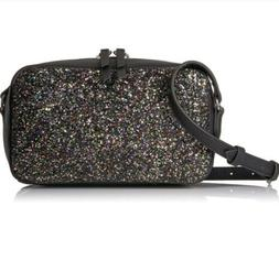 THE FIX Isabelle Black Glitter Small Crossbody Bag - Black