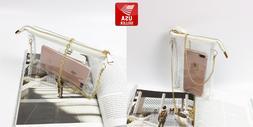 Transparent Clear PVC Purse Crossbody Shoulder Bag Gold Zipp