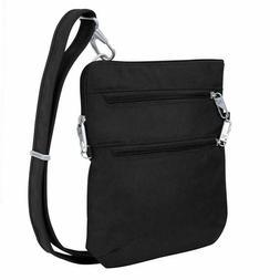 Travelon Anti-Theft Classic Slim Dbl Zip Crossbody Bag, Blac