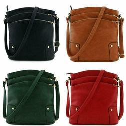 Triple Zip Pocket Large Crossbody Bag Adjustable Shoulder St